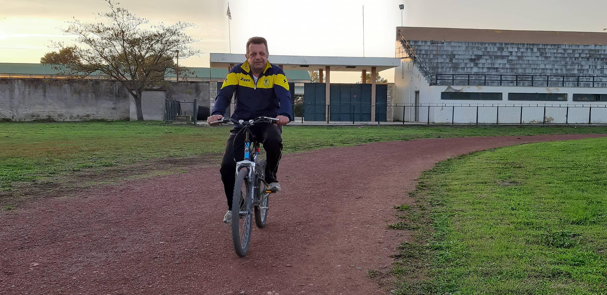 """Photo of Γιόρτασε με """"ποδηλατάδα"""" τον νέο τάπητα του Σταδίου ο Σωτήρης Βουλγαράκης!!!"""